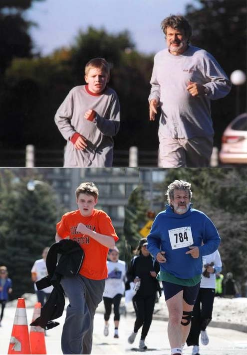 David running with his son